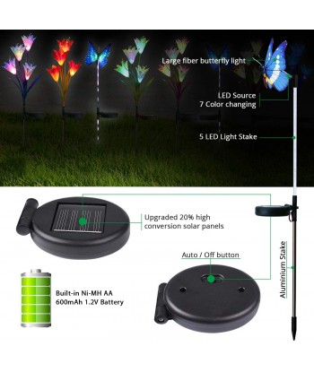 Solar Garden Lights - 3 Pack LED Color Changing Solar Lights for Garden, Patio, Backyard (2 Lilly Flowers and 1 Butterfly)