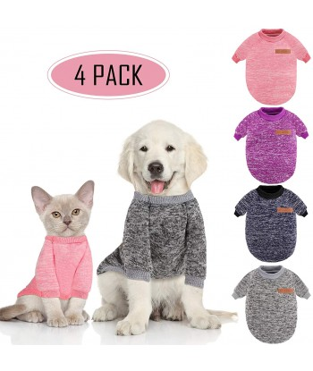 4 Pieces Dog Sweater Winter...